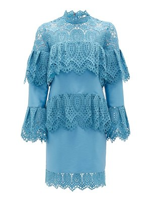 Erdem lyndell layered guipure-lace & mikado satin dress