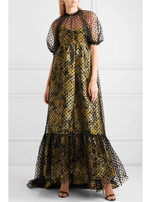 Erdem neave floral-jacquard and flocked tulle gown
