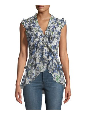 Erdem Regina V-Neck Ruffled Silk Voile Top
