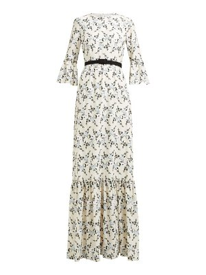 Erdem senna floral embroidered belted gown