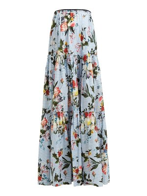 Erdem sigrid tiered floral print cotton maxi skirt
