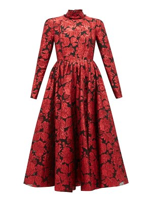 Erdem tedora metallic floral silk blend dress