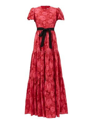 Erdem trin tiered floral-jacquard satin gown