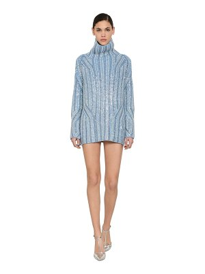 Ermanno Scervino Embellished wool knit mini dress