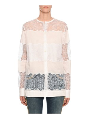 Ermanno Scervino Long-Sleeve Sheer Blouse with Lace Insets