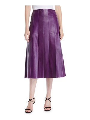 Escada A-Line Pleated Lamb Leather Midi Skirt