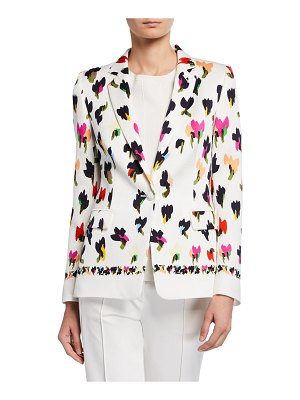 Escada Abstract Floral-Print Hammered Blazer
