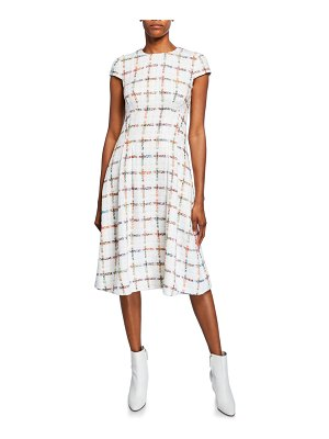 Escada Cap-Sleeve Windowpane Tweed Dress