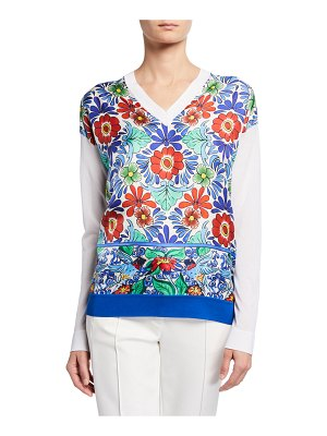 Escada Ceramic-Print Silk-Front Sweater