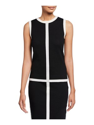Escada Contrast-Striped Double-Face Wool Shell