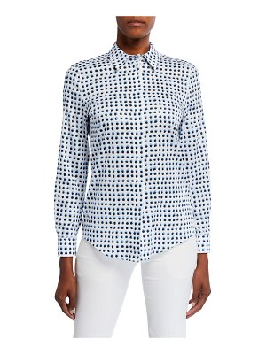 Escada Dotted Poplin Button-Front Shirt
