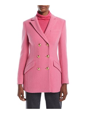 Escada Double-Breasted Boiled Wool-Blend Evening Jacket w/ Golden Buttons