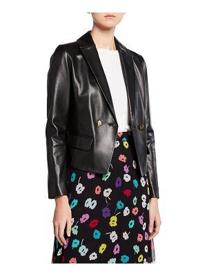 Escada Double-Breasted Leather Short Jacket