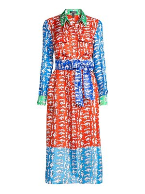 Escada dsehra colorblock silk printed shirtdress
