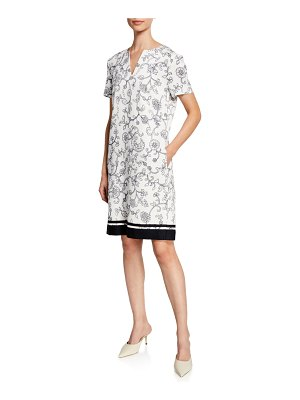 Escada Floral Lace Print Short-Sleeve Pique Dress