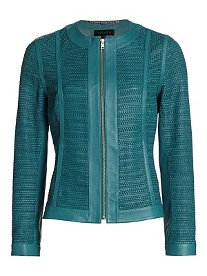 Escada lopeza basketweave leather zip jacket