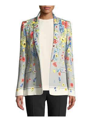Escada Notched-Collar One-Button Floral-Print Blazer