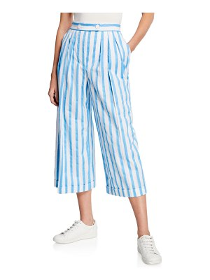 Escada Raw-Edge Striped Cotton Culottes
