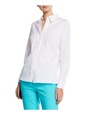 Escada Scalloped Long-Sleeve Cotton Button-Front Top