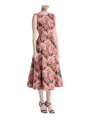 Escada Sleeveless Floral-Jacquard Fit-and-Flare Midi Day Dress