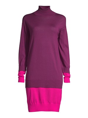 Escada Sport dilara colorblock virgin wool turtleneck sweater dress