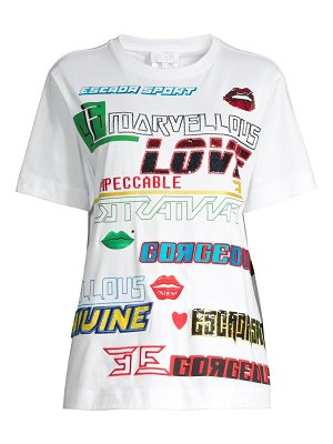 Escada Sport embellished graphic patch t-shirt