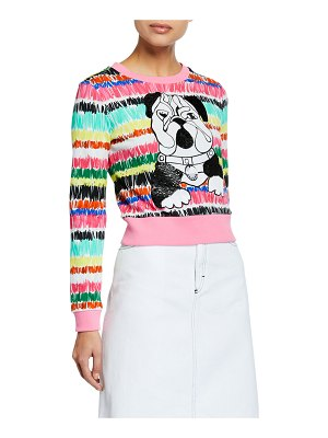 Escada Sport Long-Sleeve Cropped Sequin Bulldog Sweater