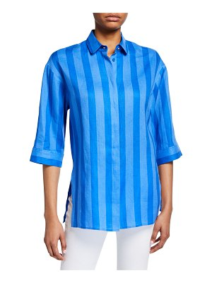 Escada Sport Shadow-Striped Button Front Linen Tunic