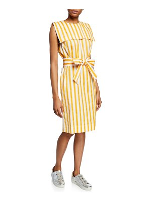 Escada Striped Sleeveless Raw-Edge Dress