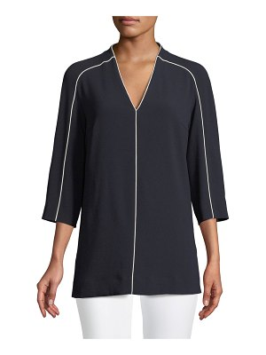 Escada V-Neck 3/4 Sleeve Crepe Blouse w/ Contrast Piping