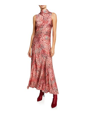 Escada Watercolor Animal-Print Satin Maxi Dress
