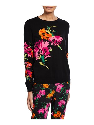 Escada Wool-Cashmere Floral Intarsia Sweater