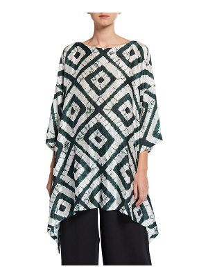 eskandar 3/4-Sleeve Tie-Dye Silk Long Top