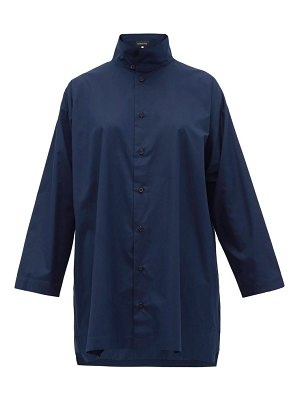 eskandar band collar cotton poplin shirt