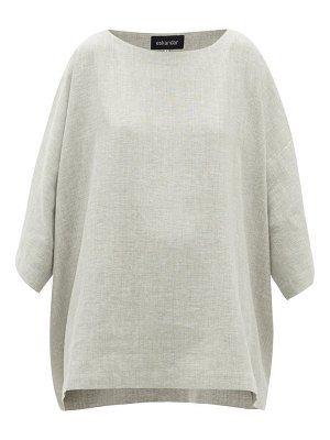 eskandar boat-neck linen-blend top