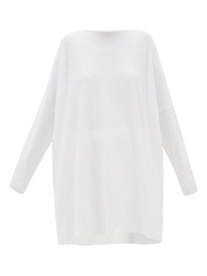 eskandar boat-neck oversized pima-cotton top