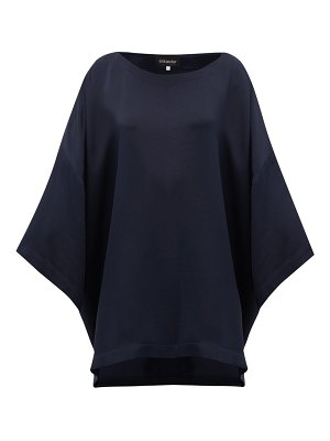 eskandar boat-neck oversized silk-crepe top