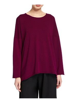 eskandar Cashmere Bateau-Neck Cascading-Side Sweater