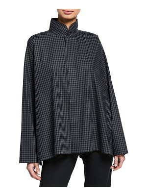 eskandar Checkered Long-Back Double-Collar Poplin Shirt