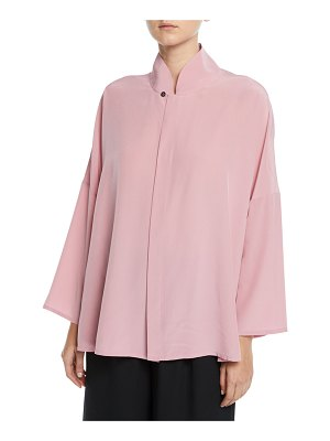 eskandar Chinese-Collar Button-Front Silk Blouse