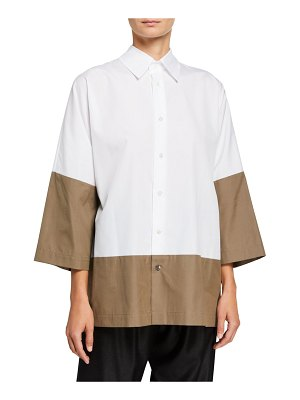 eskandar Colorblocked Slope-Shoulder Shirt