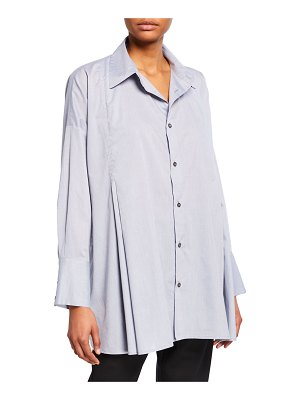 eskandar Cotton Button-Front Swing Shirt