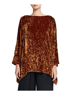 eskandar Crushed Velvet Slim-Sleeve Tunic