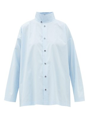 eskandar double-collar cotton-poplin shirt