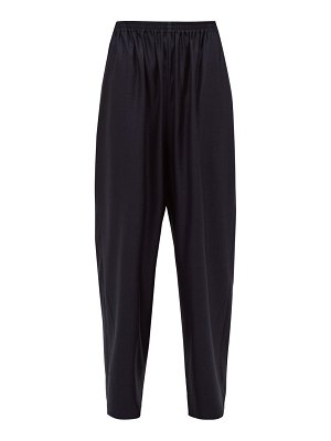 eskandar elasticated wool-blend jacquard wide-leg trousers
