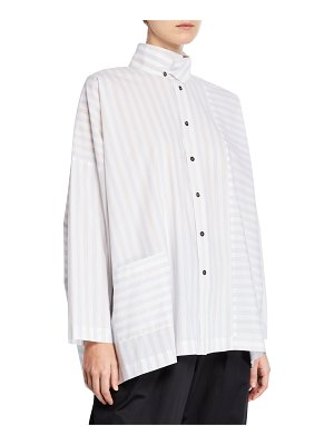 eskandar Faded-Stripe Button Front Shirt