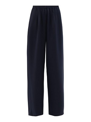 eskandar flared silk-crepe trousers