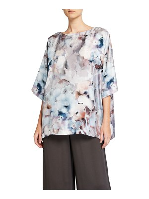 eskandar Floral-Print Boat-Neck Long Shirt