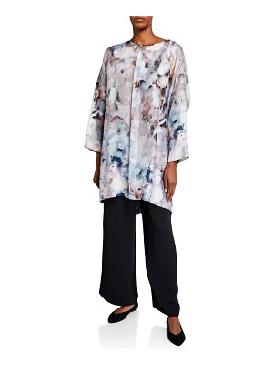 eskandar Floral-Print Silk Wide High-Low Shirt