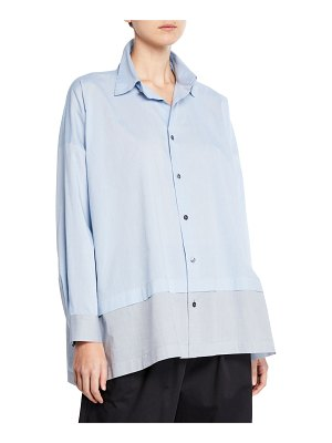 eskandar Lightweight-Melange Shirting Button-Front Shirt